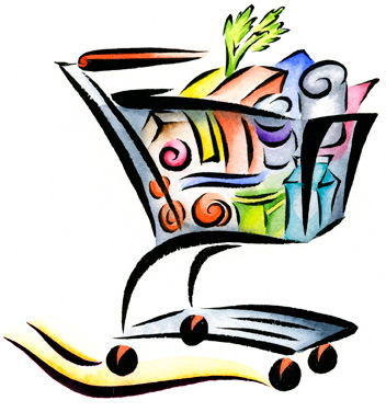 Color shopping cart icon illustration